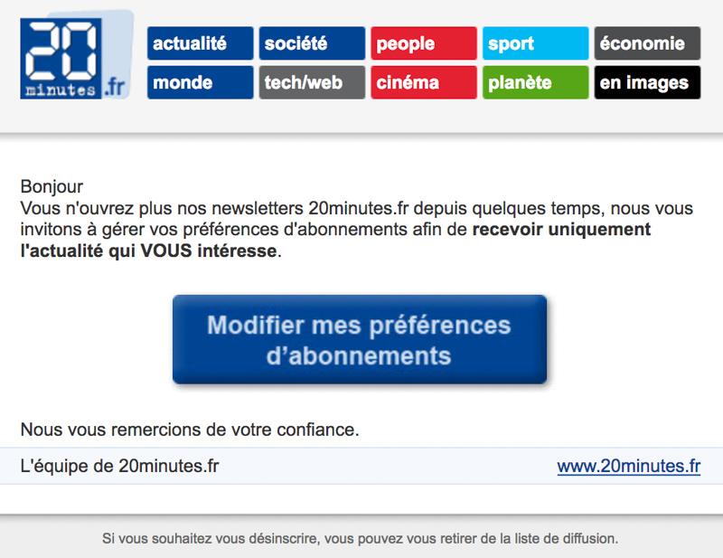 Emailing de gestion des inactifs 20Mintutes.fr