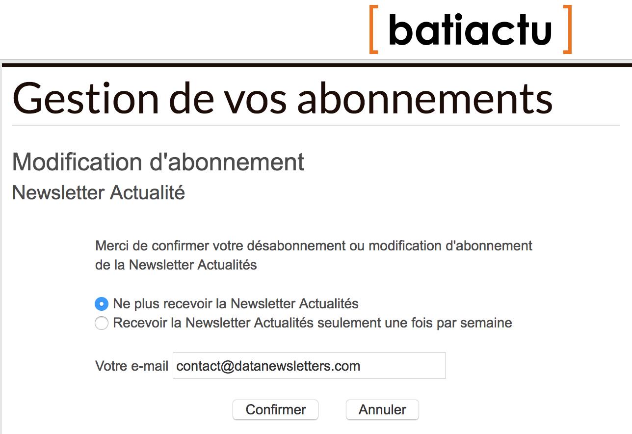 Système de désabonnement à la newsletter Batiactu.com