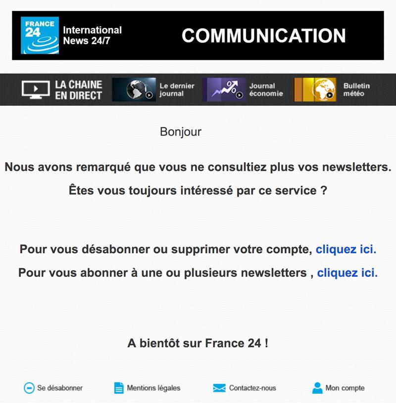 Emailing de gestion des inactifs France24.com