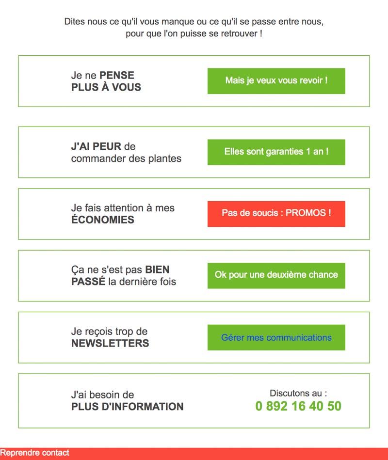 Emailing de gestion des inactifs Gammvert.fr