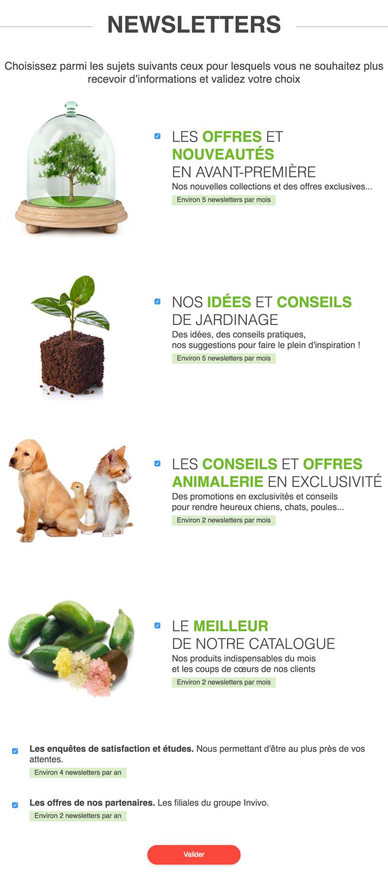 Système de désabonnement à la newsletter Gammvert.fr