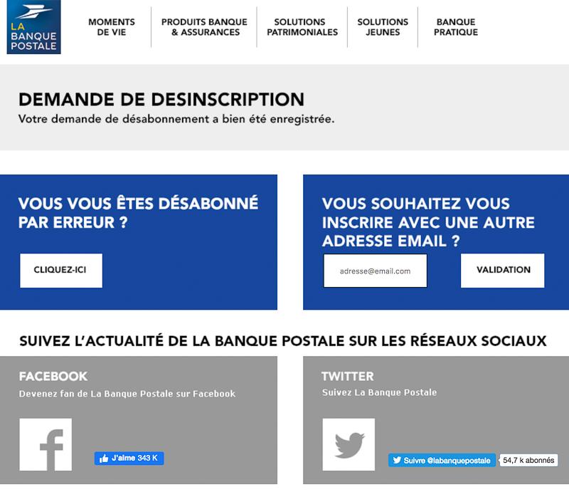 Système de désabonnement à la newsletter La Poste