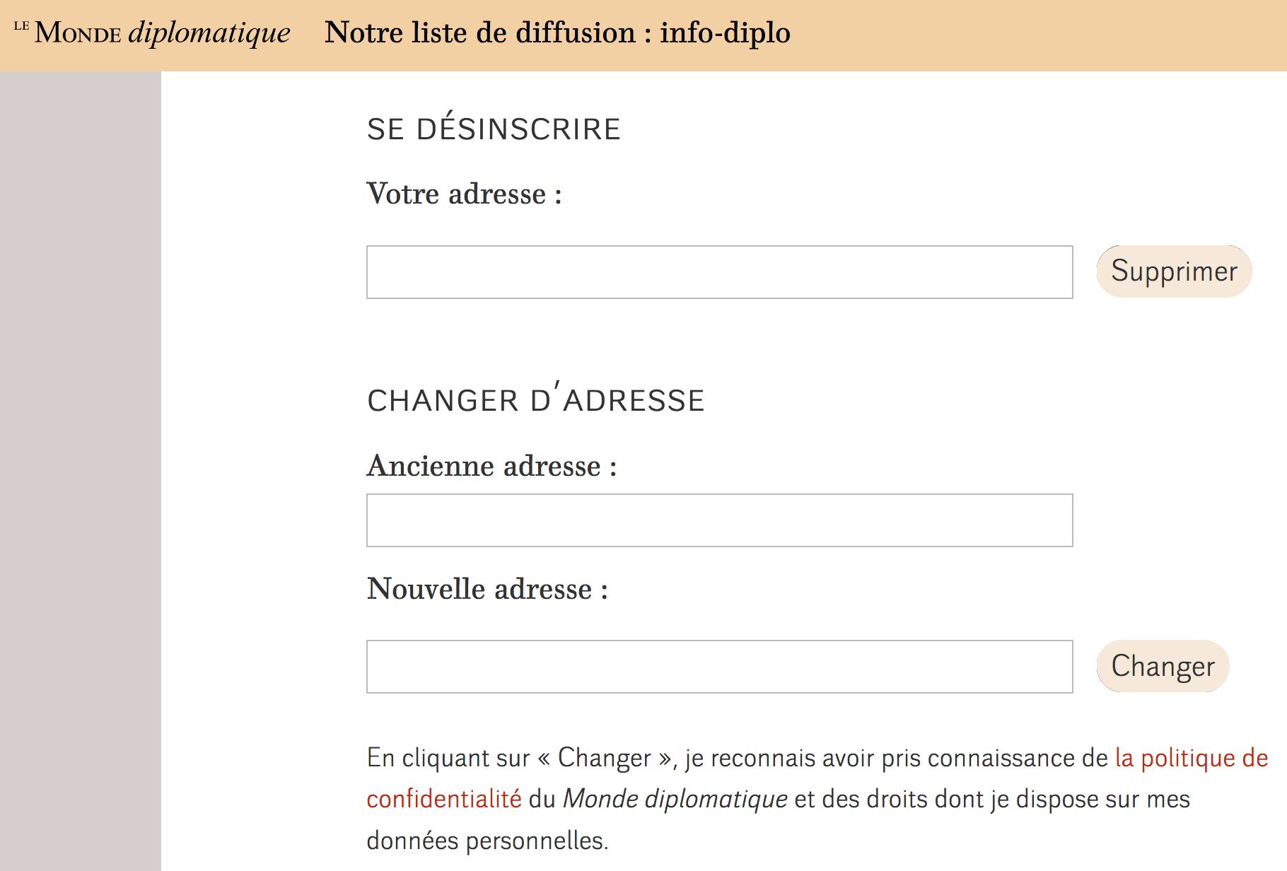 Système de désabonnement à la newsletter Le Monde diplomatique