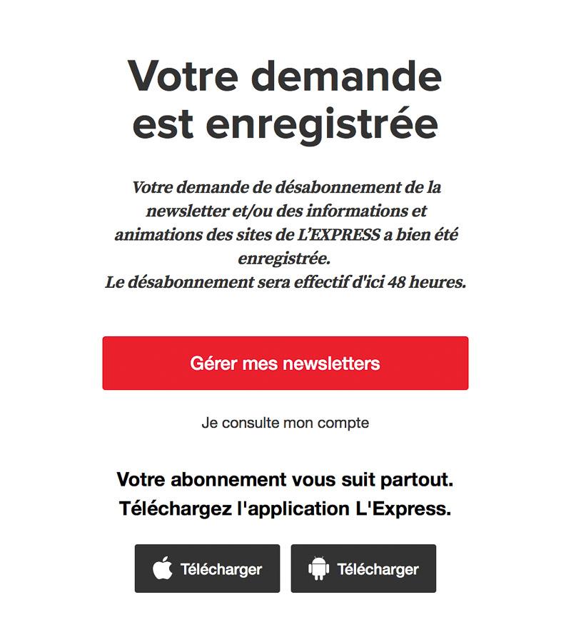 Système de désabonnement à la newsletter L'Express quotidienne
