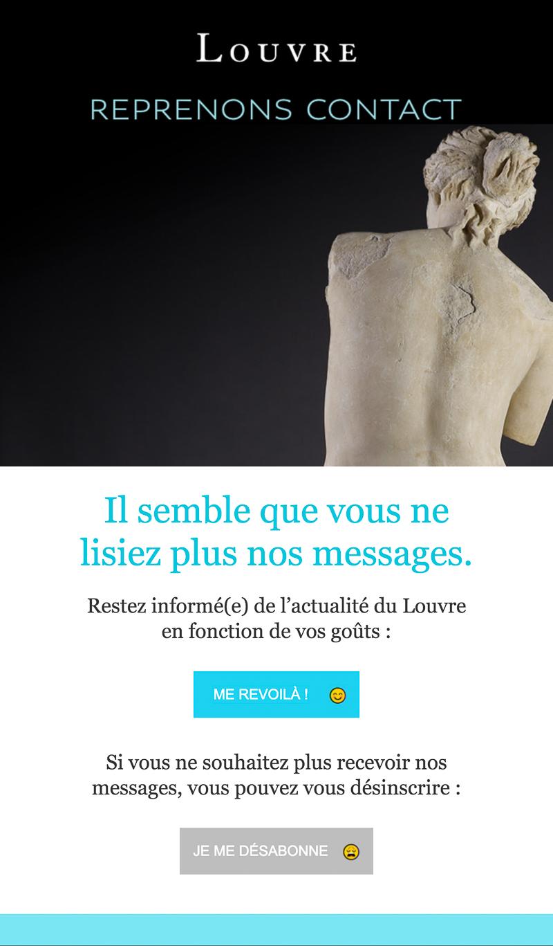 Emailing de gestion des inactifs du Musée du Louvre