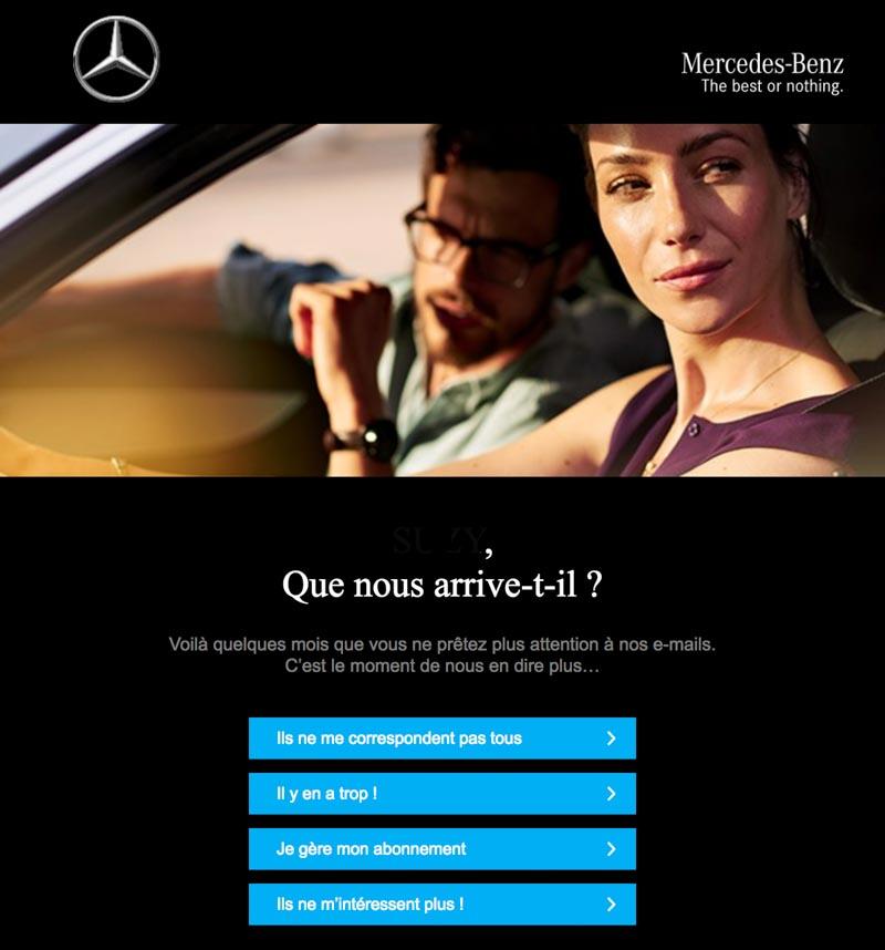 Emailing de gestion des inactifs Mercedes-benz.fr