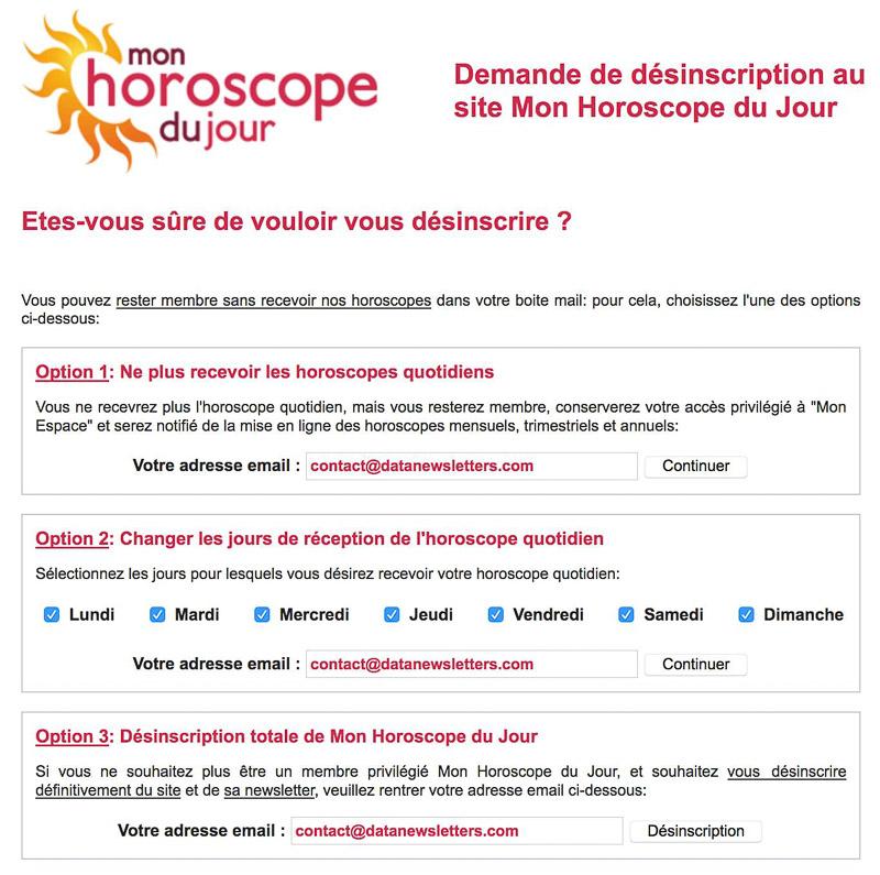 Système de désabonnement à la newsletter Mon horoscope du jour