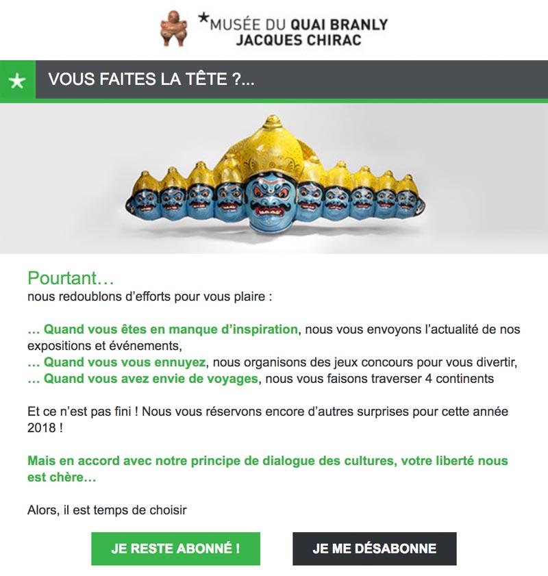 Emailing de gestion des inactifs Quaibranly.fr