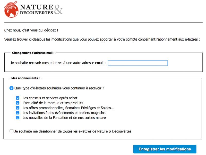 Système de désabonnement à la newsletter Nature & Découvertes