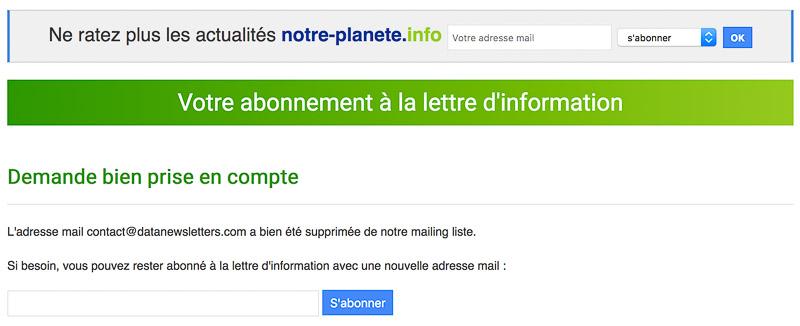 Système de désabonnement à la newsletter Notre-Planète.info