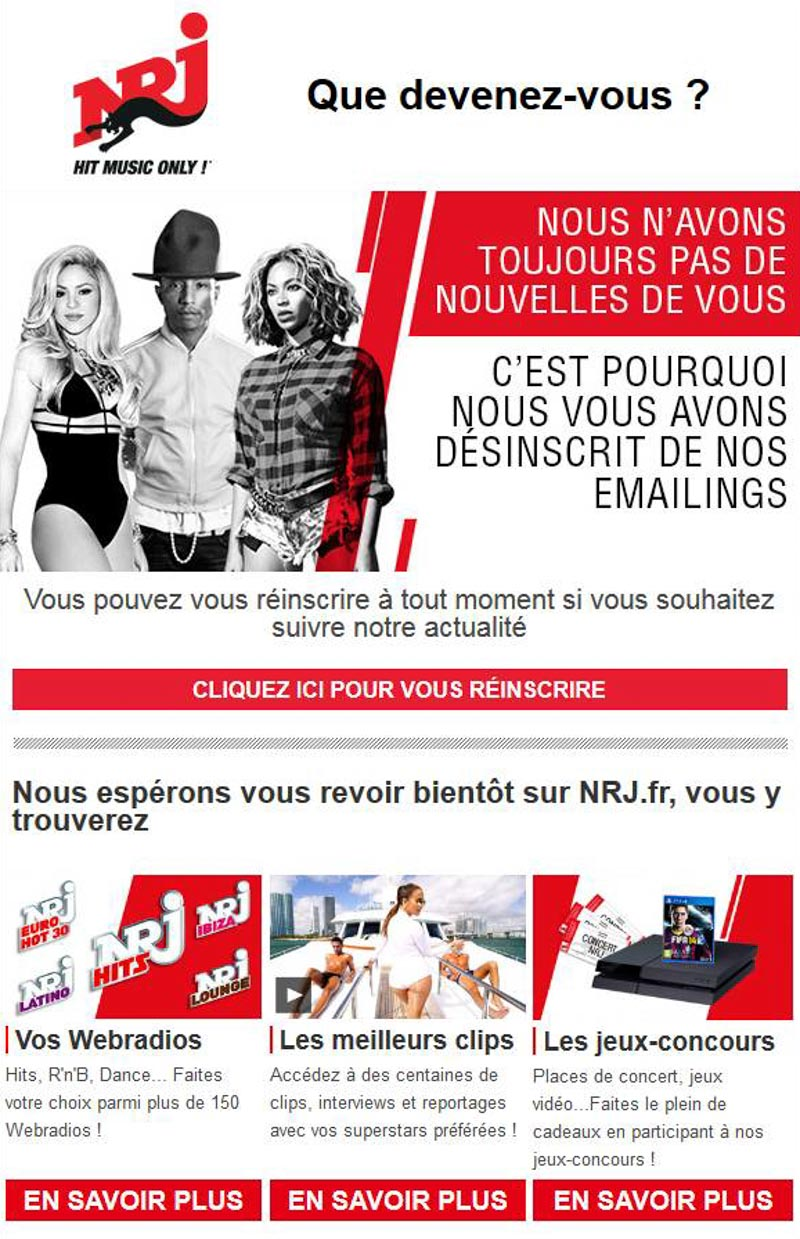 Emailing de gestion des inactifs Nrj.fr