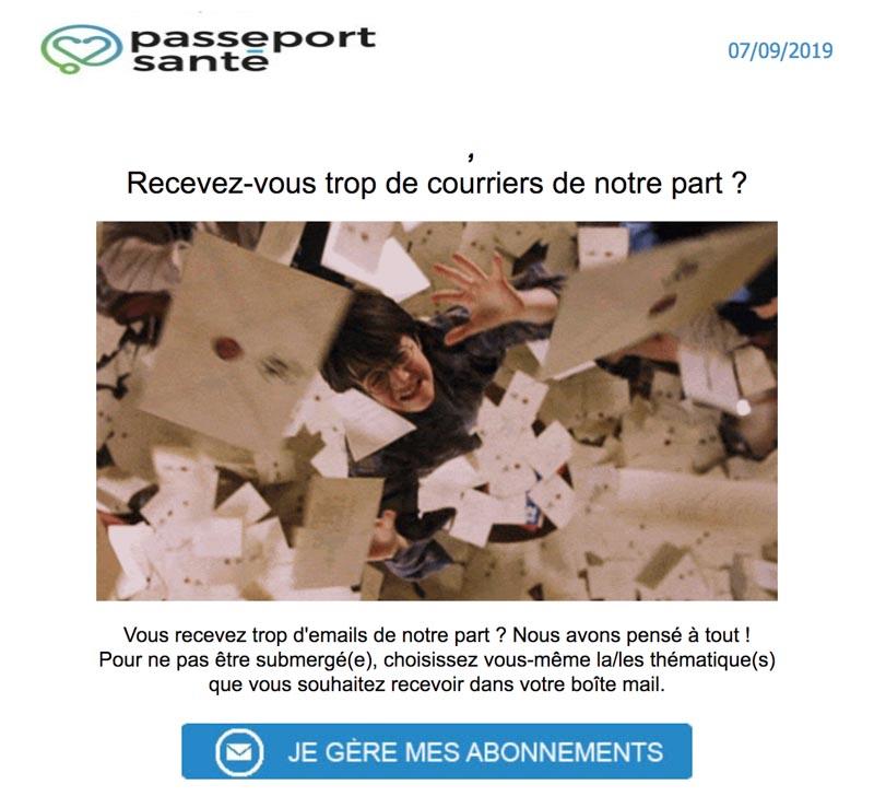Emailing de gestion des inactifs Passeportsante.net