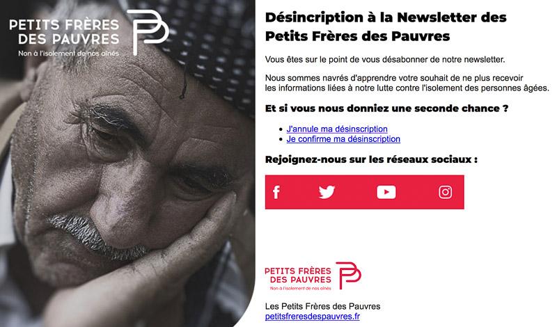Système de désabonnement à la newsletter Petits Frères des Pauvres