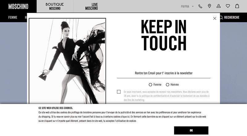 Pop-up newsletter du site Moschino