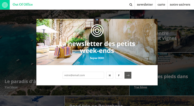 Pop-up newsletter du site Out Of Office