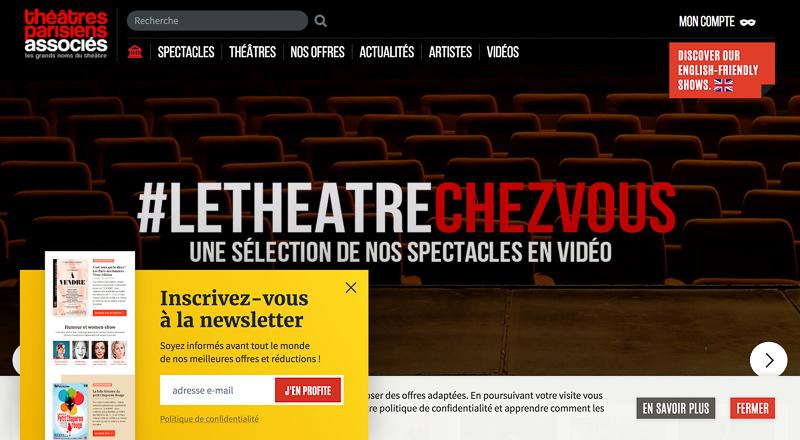Pop-up newsletter du site Théâtres Parisiens Associés