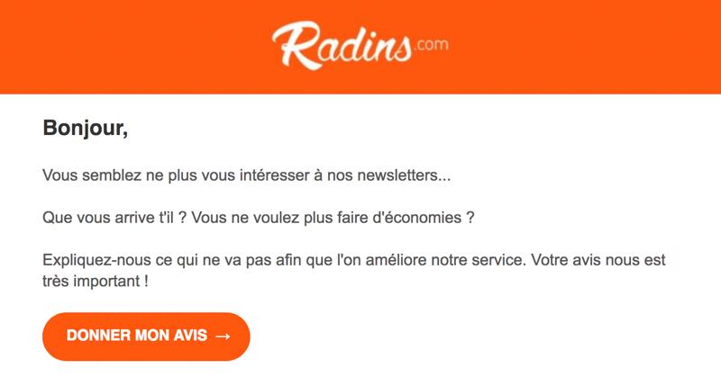 Emailing de gestion des inactifs Radins.com