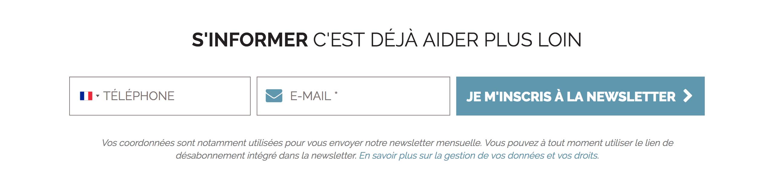 Système d'abonnement à la newsletter Solidarités international