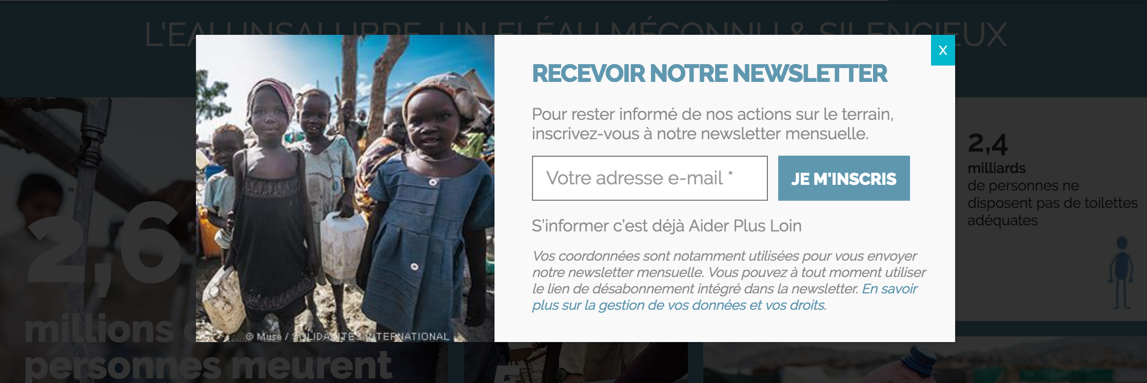Pop-up d'abonnement à la newsletter Solidarités international