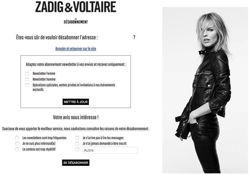 Système de désabonnement à la newsletter Zadig et Voltaire