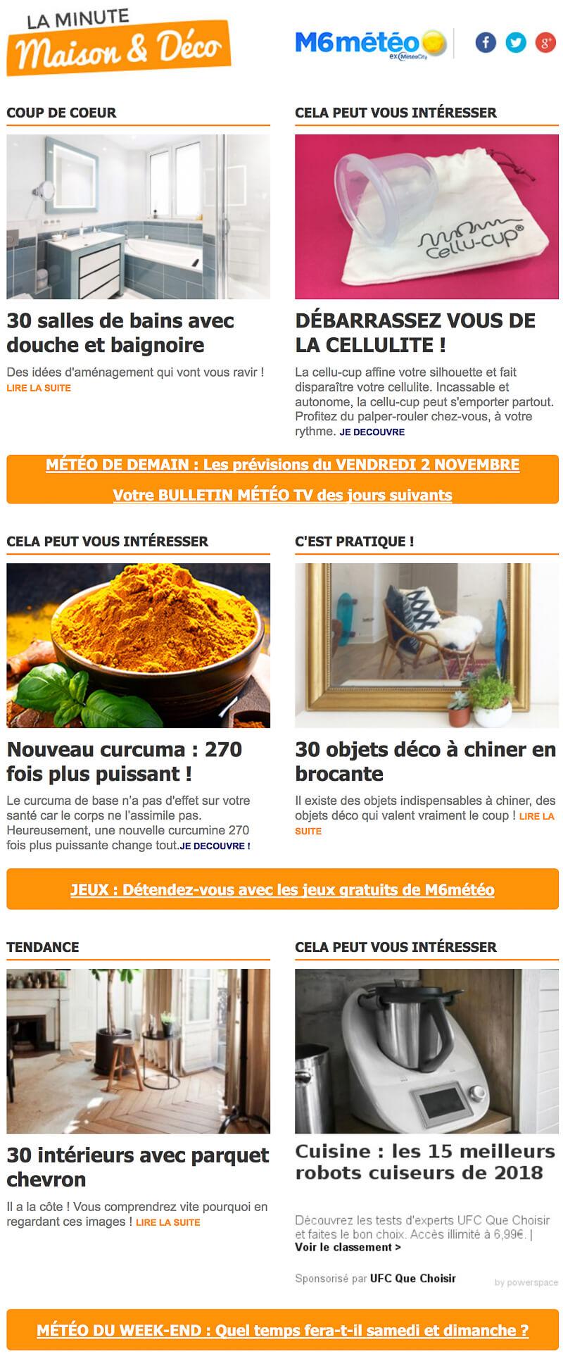 Newsletter M19 Météo La Minute Maison & Déco - Inscription