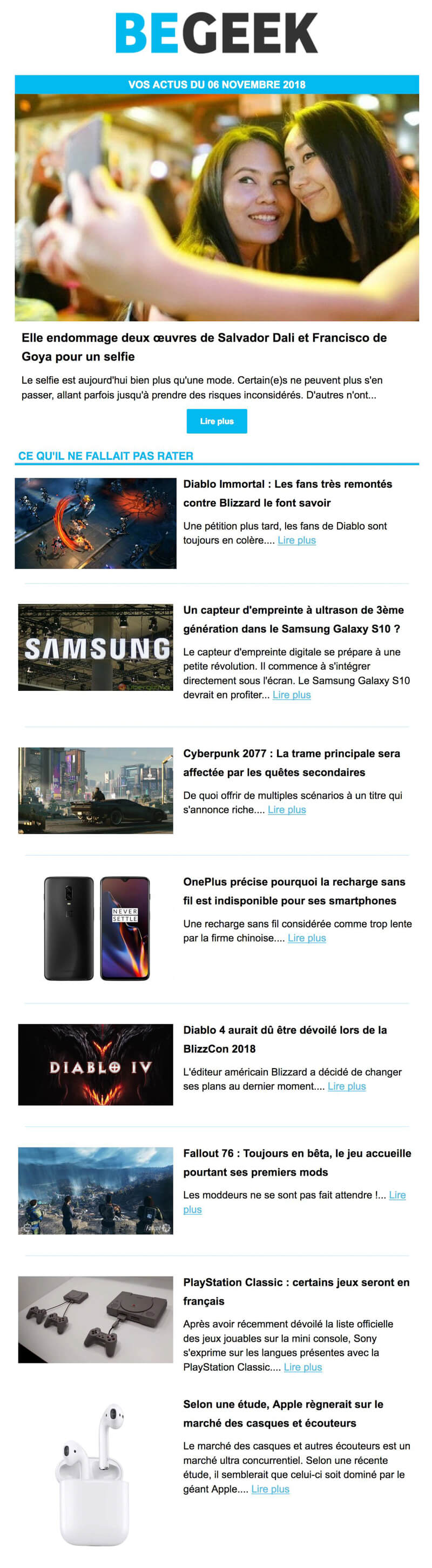 Newsletter Begeek