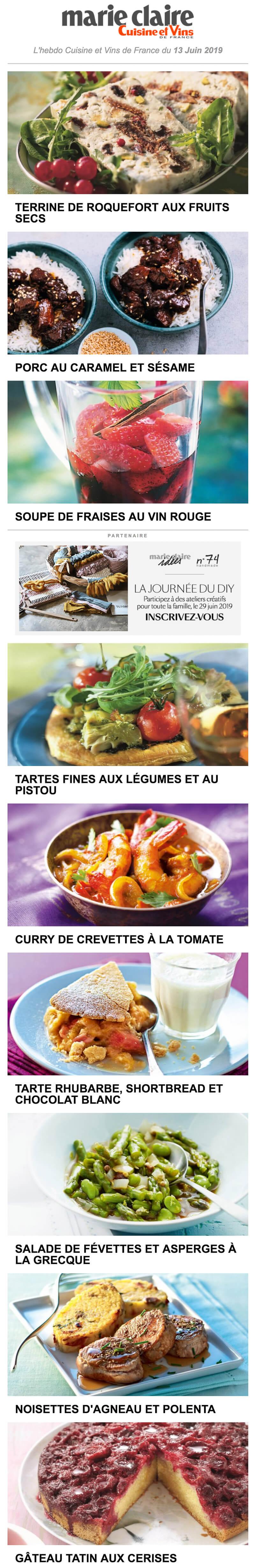 Newsletter Marie Claire Cuisine Et Vins De France Recevoir L