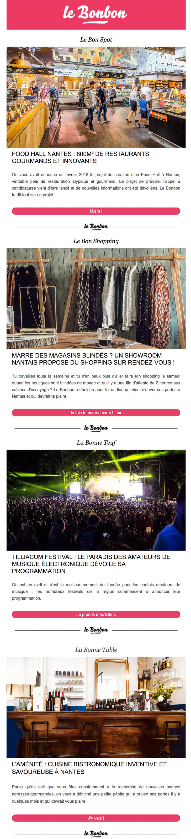 Newsletter Le Bonbon