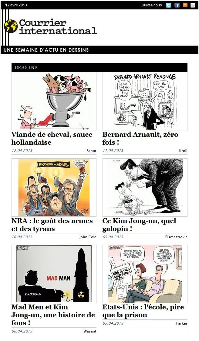 Newsletter Courrier internatio​nal Dessins
