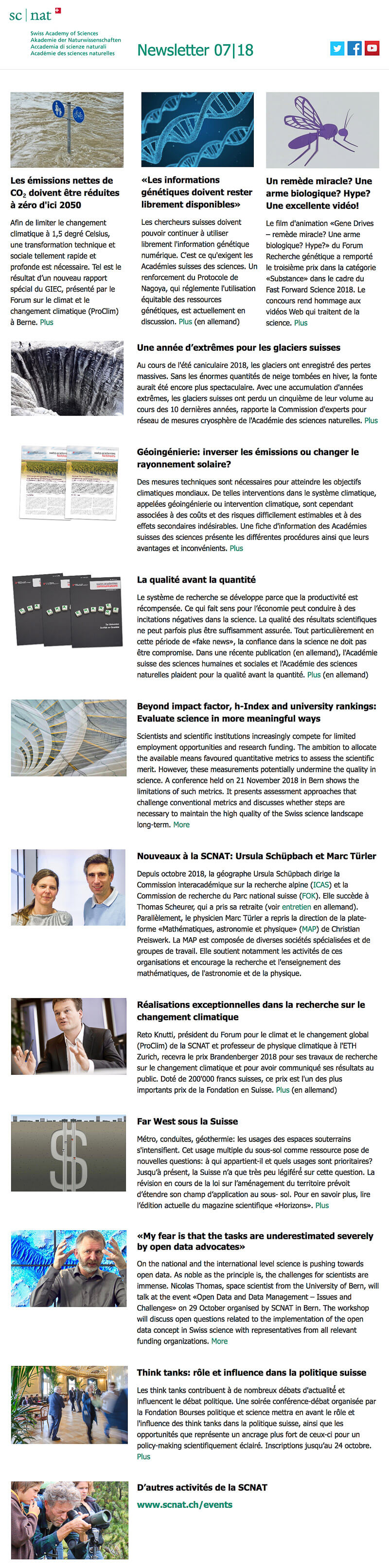 Newsletter Sciences naturelles Suisse