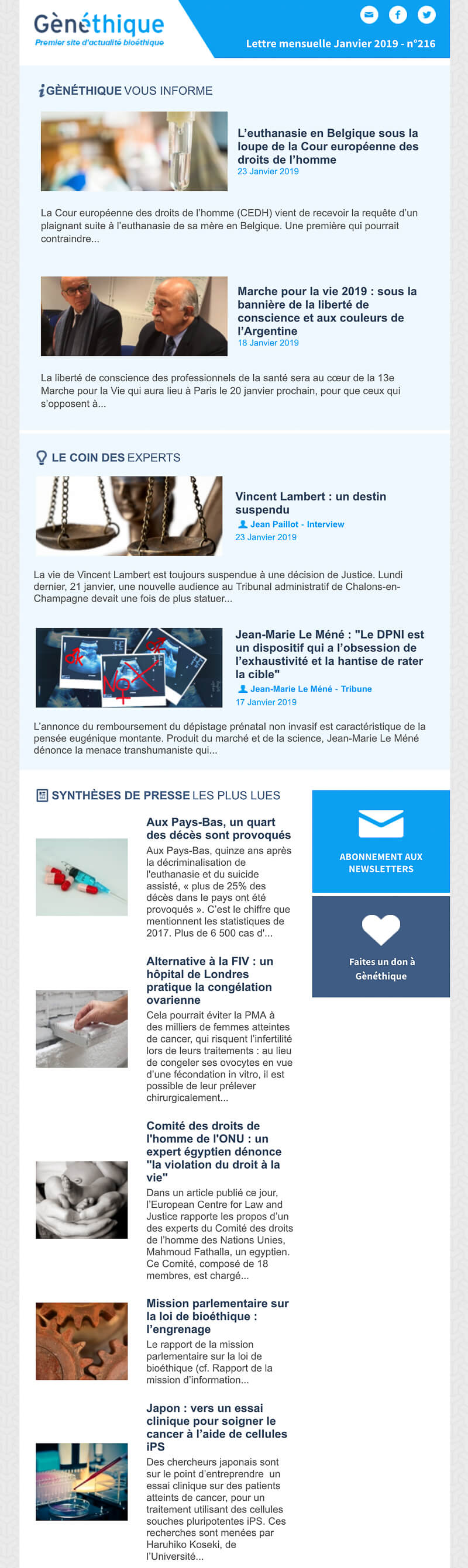 Newsletter Gènéthique