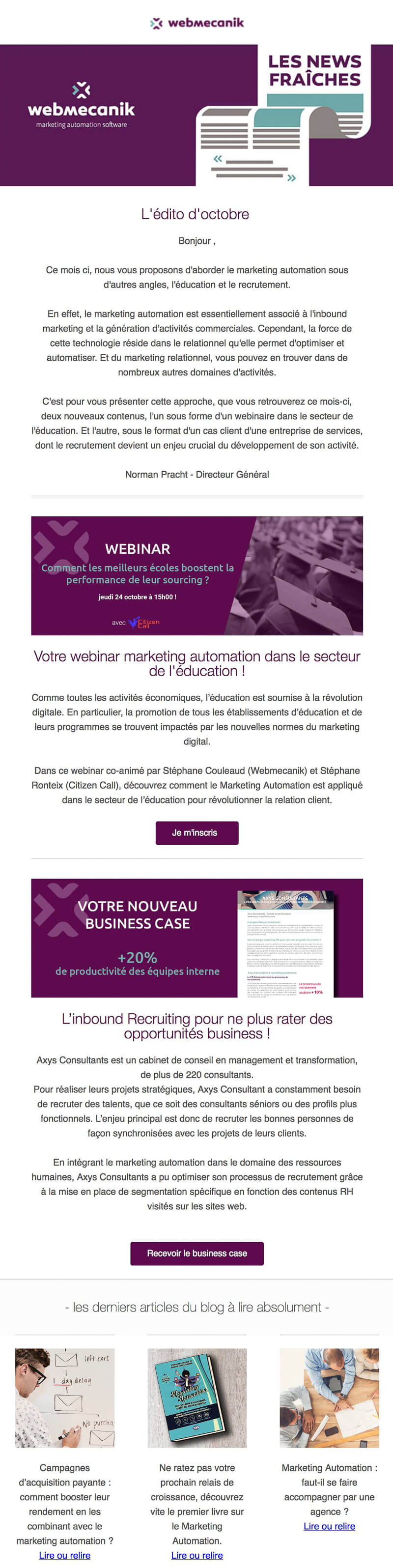 Newsletter Webmecanik