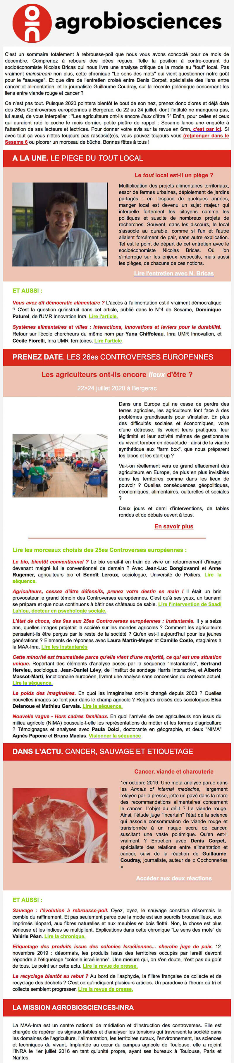 Newsletter Mission Agrobiosciences - Inra