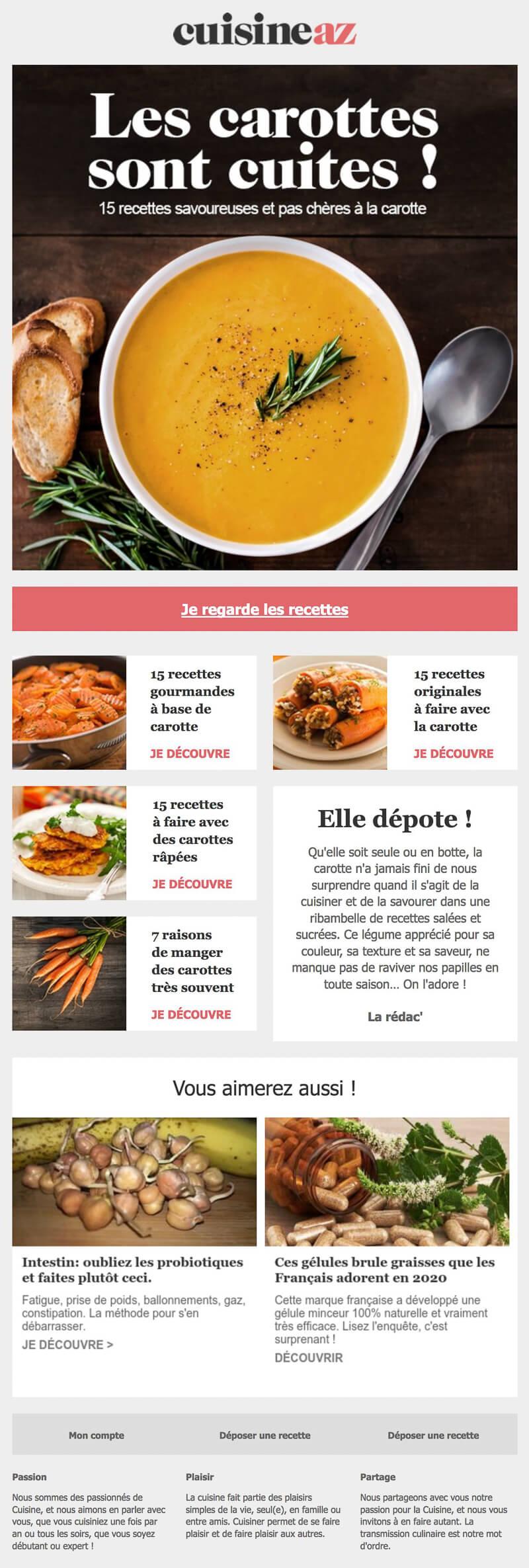 Newsletter CuisineAZ   Recevoir l'actualité du site de recettes de ...