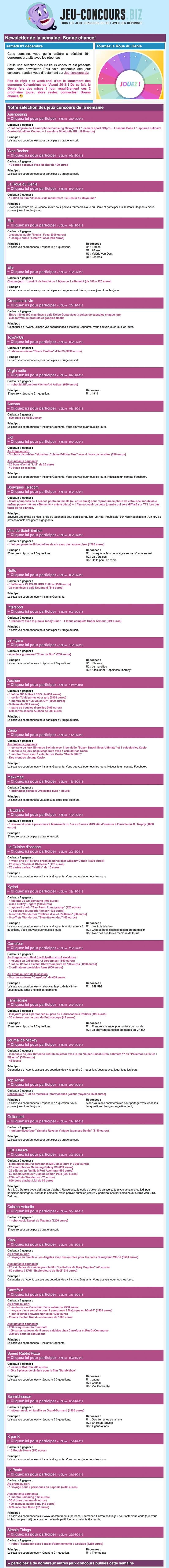Newsletter Jeu Concours Biz Recevoir L Actualite Des Jeux Concours Sur Internet Par E Mail